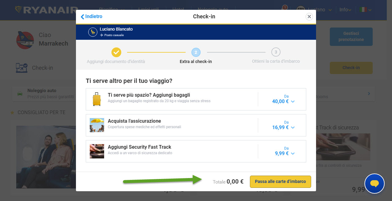 Home page di Ryanair; Riepilogo check-in ed eventuale totale da pagare se c'erano servizi aggiuntivi