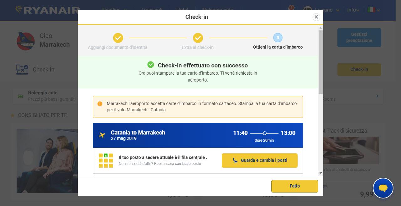 Home page di Ryanair; check-in effettuato con successo