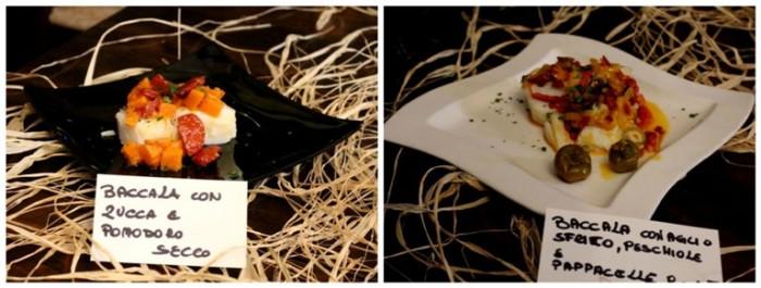 Osteria del Baccalà a Frosinone, baccalà con zucca e pomodoro secco – con aglio sfritto, peschiole e papaccelle