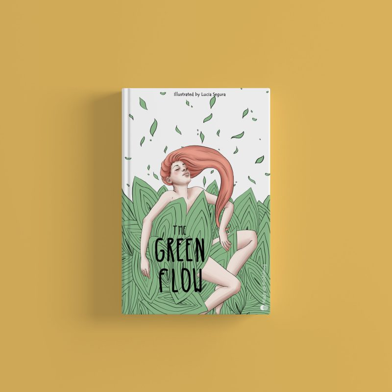 Book wrap cover illustration mock up for YA young adult fiction novel with a greenery illustration of nature and a red head woman. Green flow drawing by Lucia Segura Art.