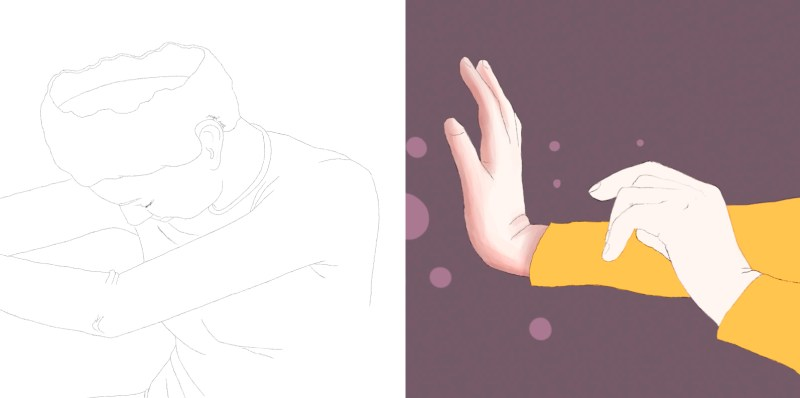 Digital illustration process of a woman and her hands, showing the application of shadows and colour to create volumes. She wears a yellow t-shirt and the background is purple.