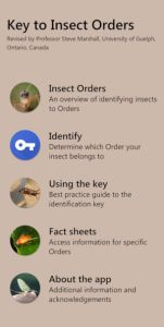 Key to Insect Orders Mobile app edition front screen
