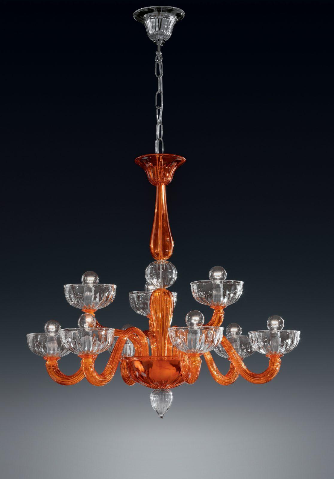 Lampadario moderno in alluminio e vetro soffiato bianco, arancio, caffè e verde oliva 3 luci con attacco e27. Lampadario 6 3 Luci 925 6 3 I Colorati Di Murano Vetrilamp