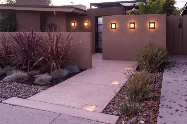 Front walk by night