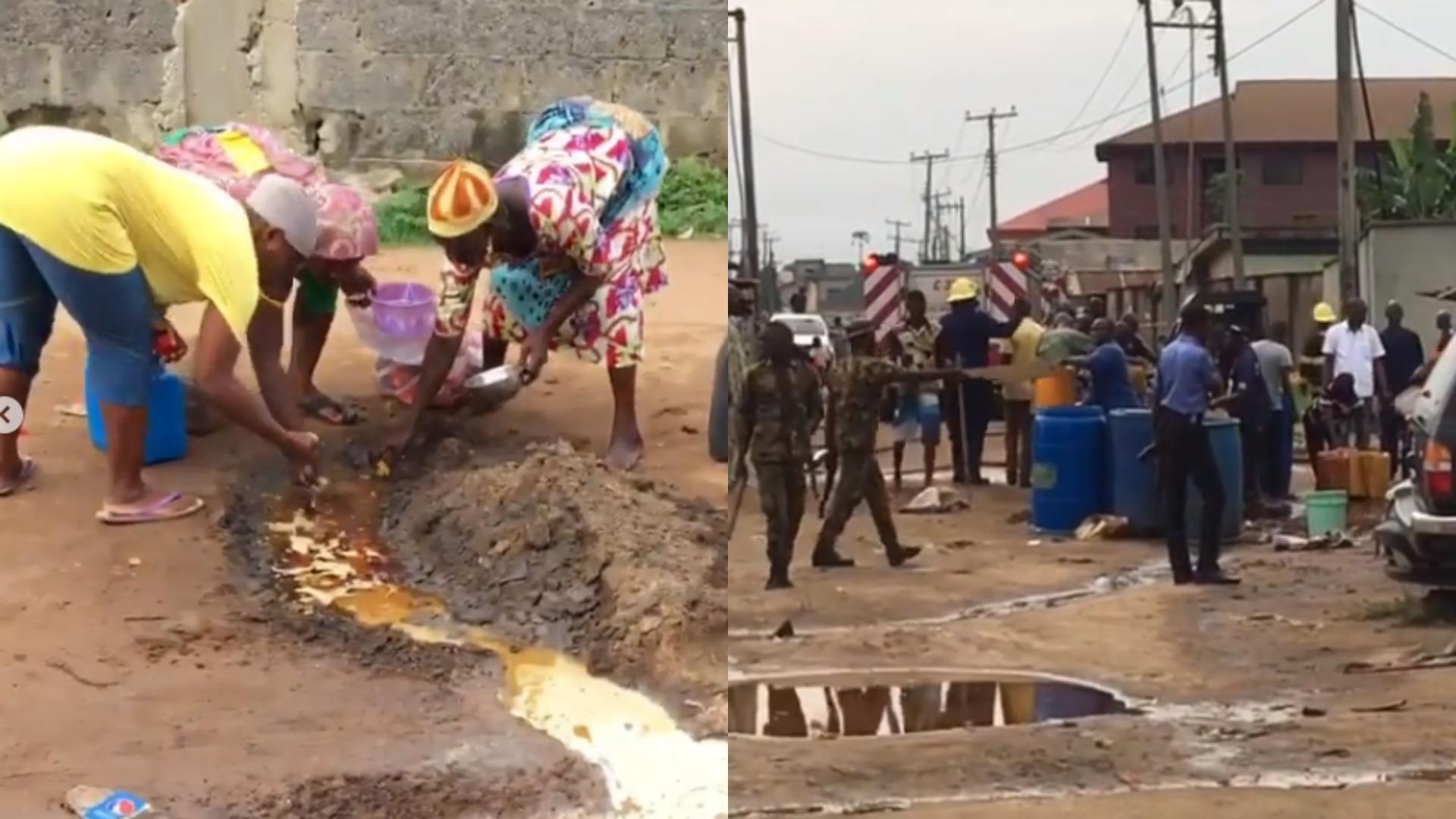Residents of Ijegun Community in Lagos filmed scooping Fuel from broken Pipeline (Photos, Video)
