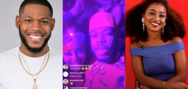 #BBNaija: Moment Esther kissed Frodd passionately at the Grand Finale Party (Video)