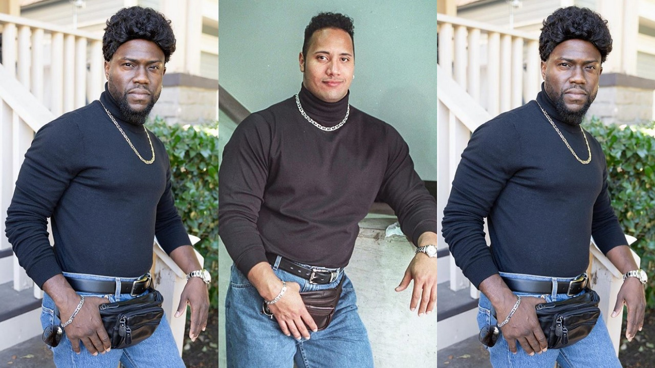 """Kevin Hart dresses up as Dwayne """"The Rock"""" Johnson for Halloween ..."""