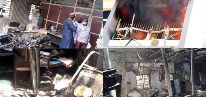 Fire guts INEC Headquarters in Abuja (Photos)