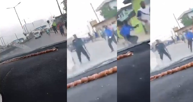 Bribe-seeking police officers run for their lives as fed-up driver speeds past them in Badagry, Lagos (Video)