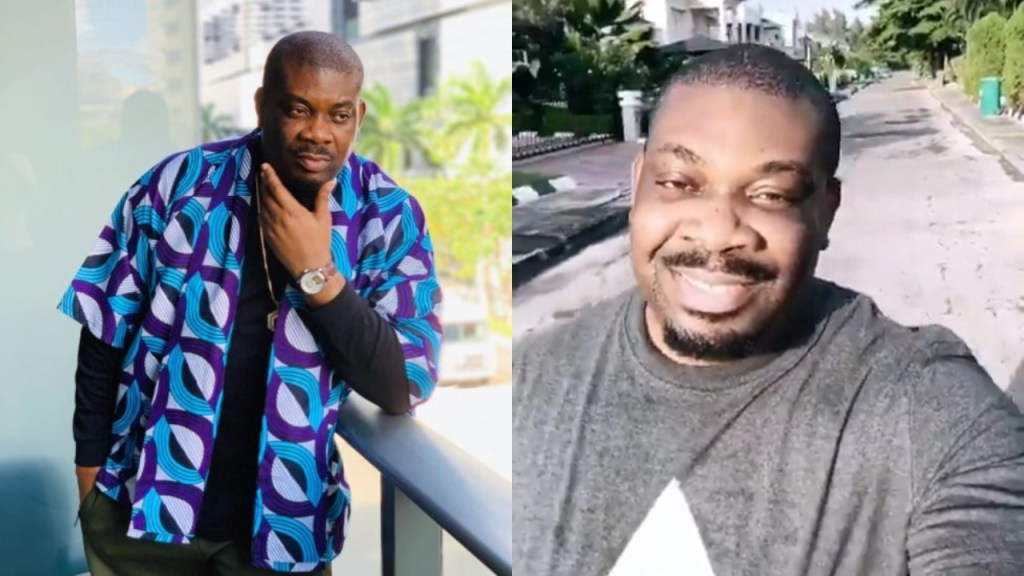 Nigerians react after Don Jazzy was seen 'bending' to greet a lady while jogging (Video)
