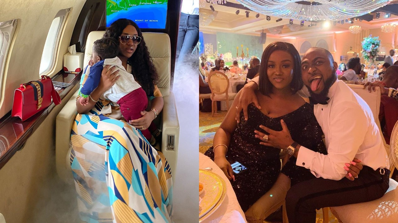 Davido's fiancee, Chioma cruises with son Ifeanyi on their Private Jet (Photo)