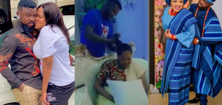 Toyin Abraham's husband makes her hair on her 40th birthday (Video)