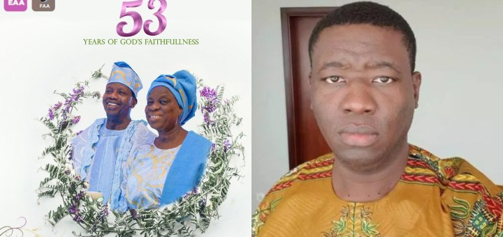 Leke Adeboye shades people whose marriages didn't last yet have an opinion on marriage as he celebrates his parents 53rd Wedding Anniversary