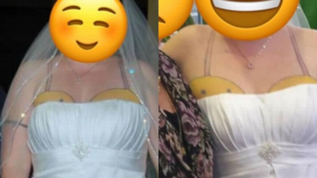 Bride's strapless wedding gown goes viral as it exposes 'worst tattoo ever'