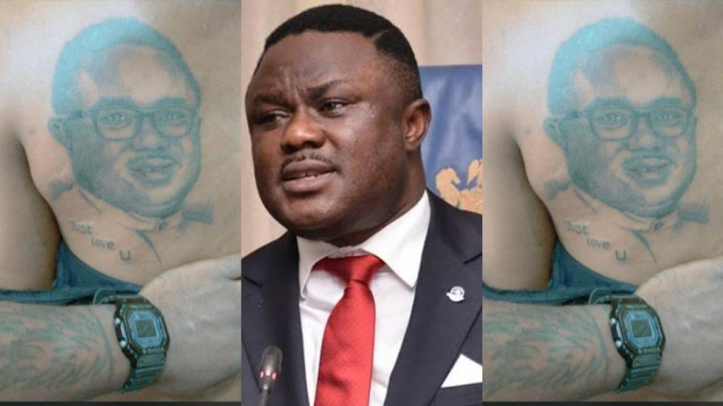 Lady declares her love for Cross River State Governor Ben Ayade by getting a tattoo of his face on her back
