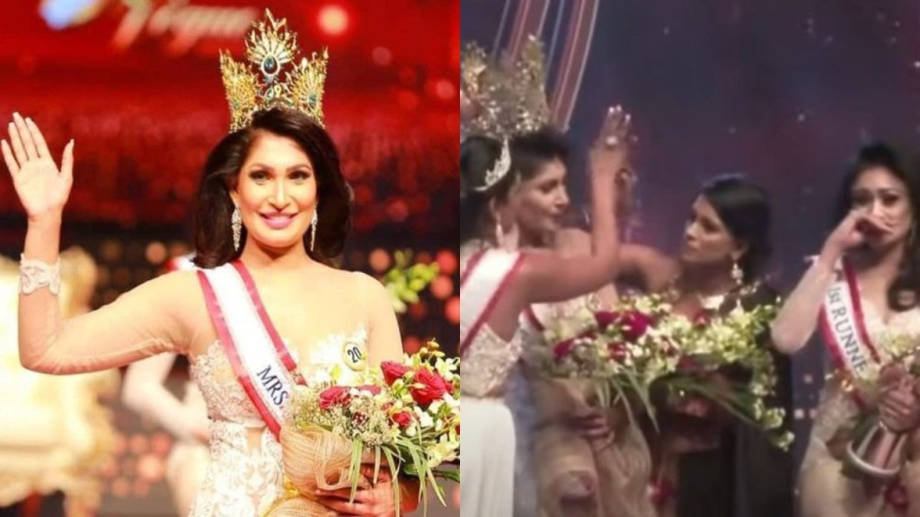 Mrs. Sri Lanka loses her beauty queen crown after it was removed from her head on stage by current Mrs. World over divorce claims