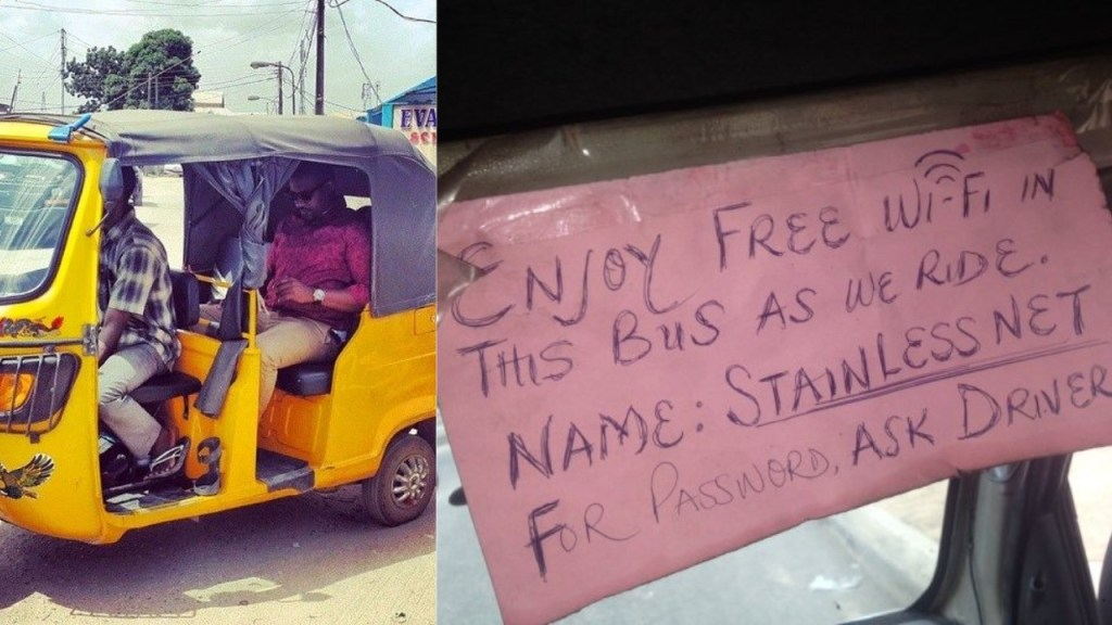 Man shares his excitement after entering keke with free WiFi in Port Harcourt (Photo)