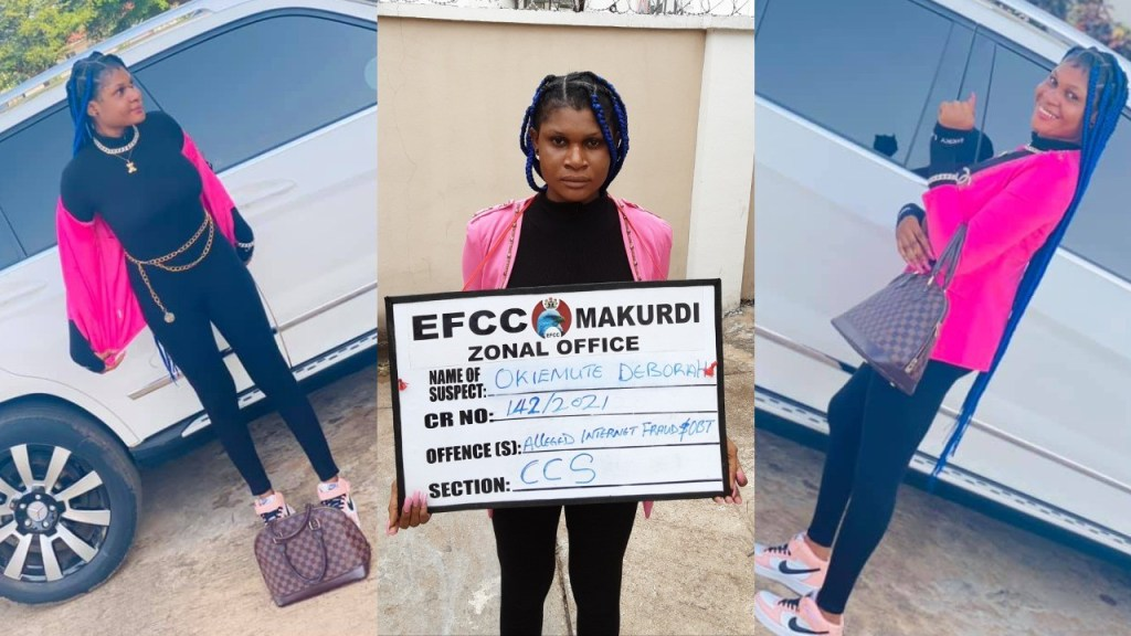 Nigerian lady lands in EFCC's net shortly after slaying on Facebook (Photos)