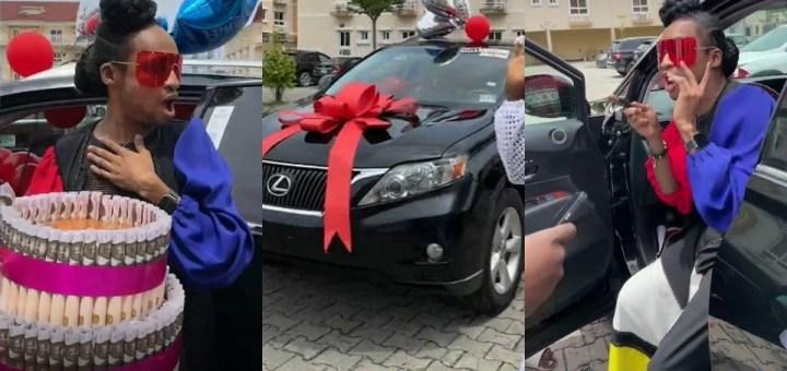"""I'm still reeling in SHOCK!"" - Denrele Edun writes as his friends gifts him an SUV on his 40th birthday (Video)"
