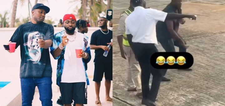 """""""My oga get money"""" - Davido's PA, Isreal DMW screams at airport while ringing a bell (Video)"""