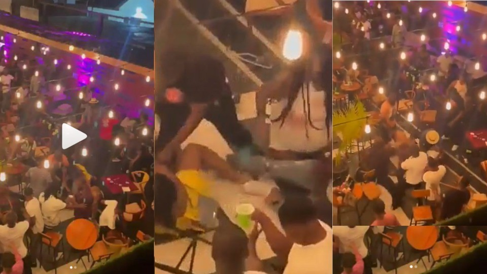 Serious fight breaks out between a guy and a lady at Ghanaian bar 'over a seat' (Video)
