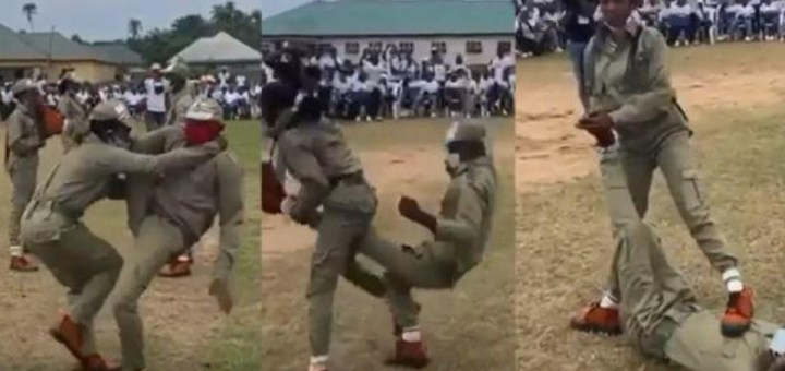 Female corp members put their self-defense skills to test at NYSC camp (WATCH)