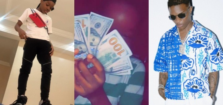 Wizkid's son, Boluwatife, shows off the hard currency his father gave him (Video)