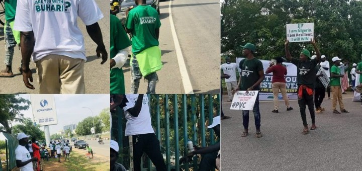 #June12thProtest: Photos and video of #IstandwithBuhari Protesters in Abuja (Video)