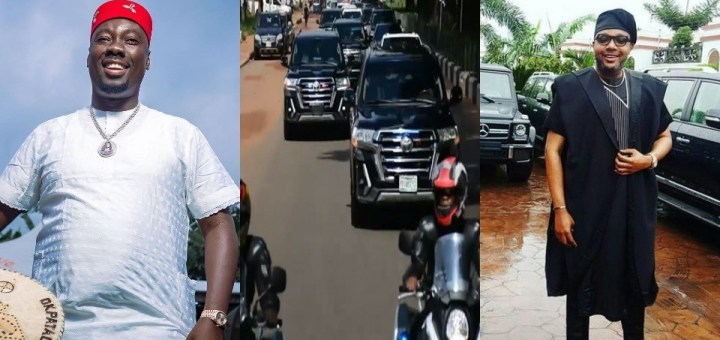 Obi Cubana Mother's Burial: Moment billionaire, E-Money arrived at Obi Cubana mother's Funeral with convoy (Video)