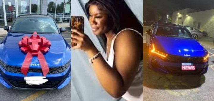 Lady buys her first car a 2022 Kia K5 at the age of 20 (Photos)