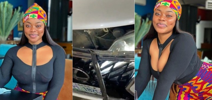 Skit Maker, Ash musy lucky to be alive after a truck rammed into her car (Video)
