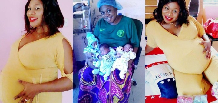 """Nigerian woman delivers triplets """"after 9 years of name-calling and insults"""" (Photos)"""