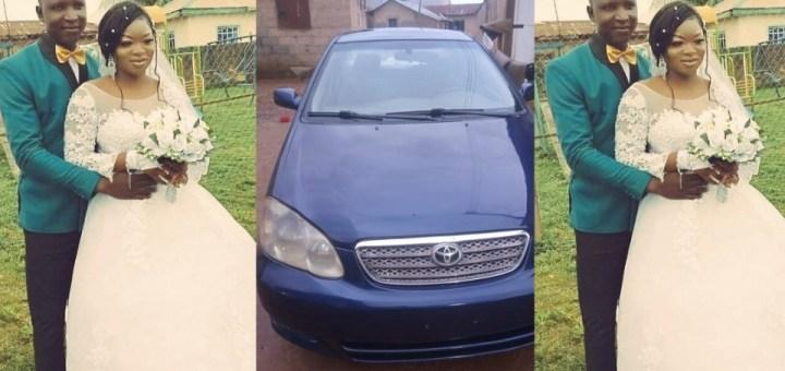 Nigerian woman gifts her husband a car on their wedding day
