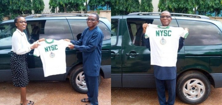 Nigerian father passes down his 37-year-old NYSC shirt to his Daughter