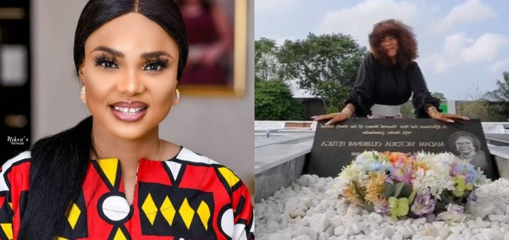 Actress, Iyabo Ojo visits her mum's grave to celebrate her 70th posthumous birthday (Video)