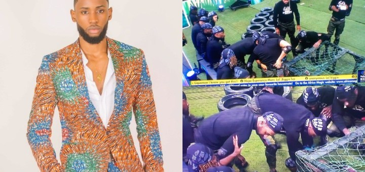 #BBNaija 2021: Watch the Moment Emmanuel dislocated his Shoulder during a Challenge in the House (Videos)