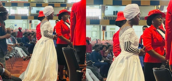 Woman storms Abuja church wearing a wedding dress to express her faith in God for her marital breakthrough (Photo)