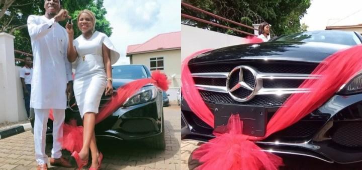 Nigerian lady gifts husband a Mercedes-Benz car on their 7th wedding anniversary (Video)