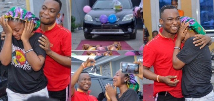 Popular clergyman Evang. Gospel Agochukwu whose first fiancée called off their wedding in 2015 gifts his new wife a SUV car for her birthday