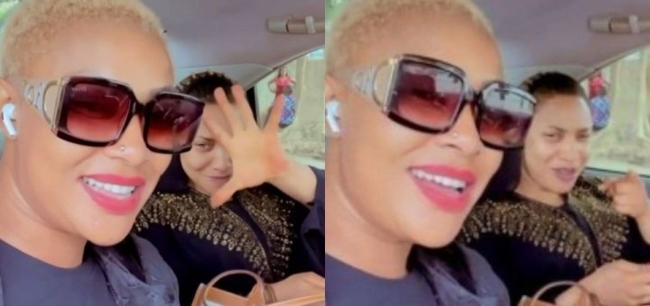Actress Tonto Dikeh and Angela Okorie passionately sings Ric Hassani's 'Thunder fire you' weeks after a messy breakup with Prince Kpokpogri (Video)