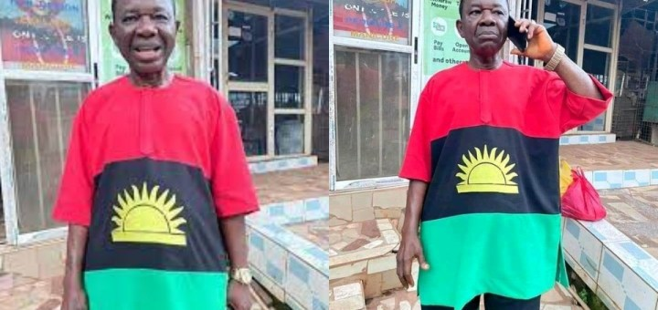 Actor, Chinwetalu Agu steps out wearing an outfit made with the Biafran flag design