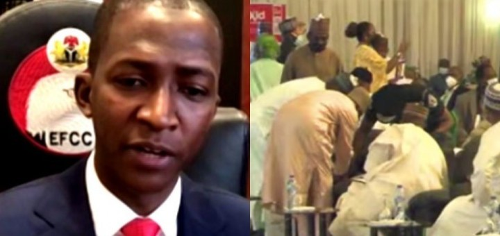 ''I was dehydrated'' - EFCC boss, Abdulrasheed Bawa speaks after he nearly slumped on Thursday.