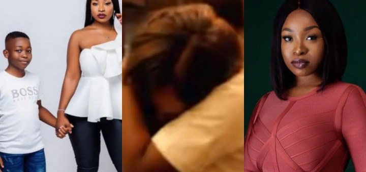 #BBNaija 2021: Jackie B breaks down in tears after being surprised by her Mother and Son following her eviction from the Big Brother house (Video)