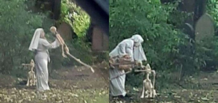Woman dressed as nun spotted dancing with skeletons in a graveyard