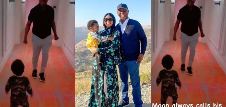 """""""Who calls their father baby?"""" – Regina Daniels says as she shares video of her son calling Ned Nwoko baby"""