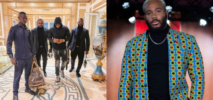 """""""Take care of people around you"""" - Fans reacts to photo of reality star, Kiddwaya with his bodyguards"""