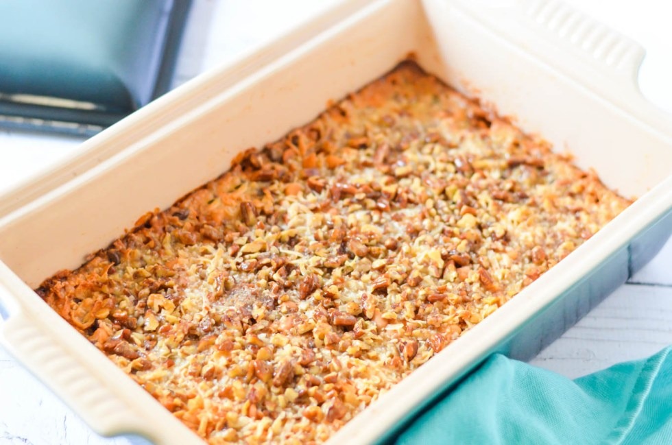 Classic Seven Layer Bars Recipe w. Butterscotch, Coconut, + Graham Cracker Crust