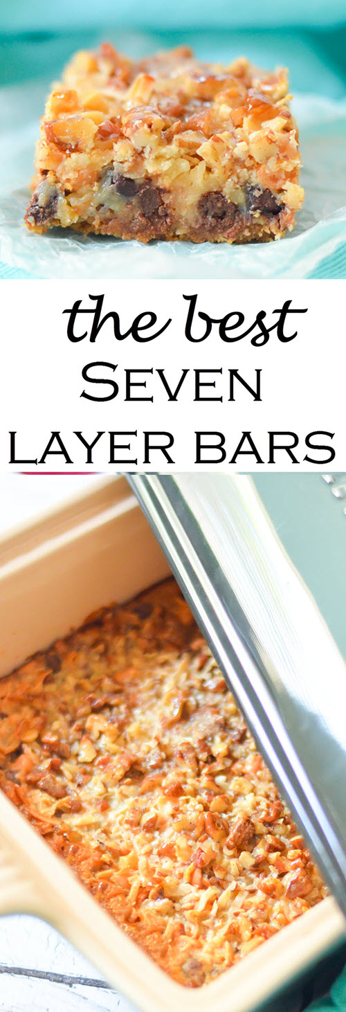 The Best Seven Layer Bars Recipe w. Butterscotch, Coconut, + Graham Cracker Crust #dessert #traditionalrecipes #bars #cookies #cookierecipes #cookiebars #recipes #foodblogger #foodblog""