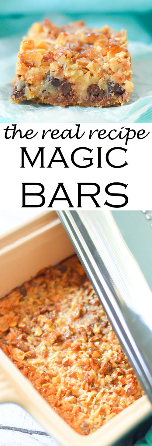 The Real Magic Bar Recipes {Seven Layer Bars} w. Butterscotch, Coconut, + Graham Cracker Crust #dessert #traditionalrecipes #bars #cookies #cookierecipes #cookiebars #recipes #foodblogger #foodblog""