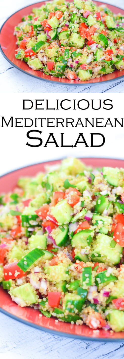 Mediterranean Salad with chopped veggies and quinoa. A plant-based salad that's a crowd pleaser. This healthy quinoa salad is the perfect potluck dish. #LMrecipes #quinoa #salad #vegan #plantbased #healthyrecipes #foodbloggers #cucumbers #potluck